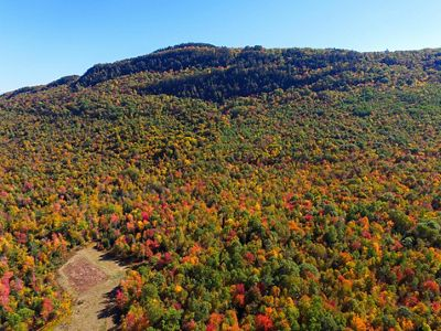 A mountain bursting with fall color.