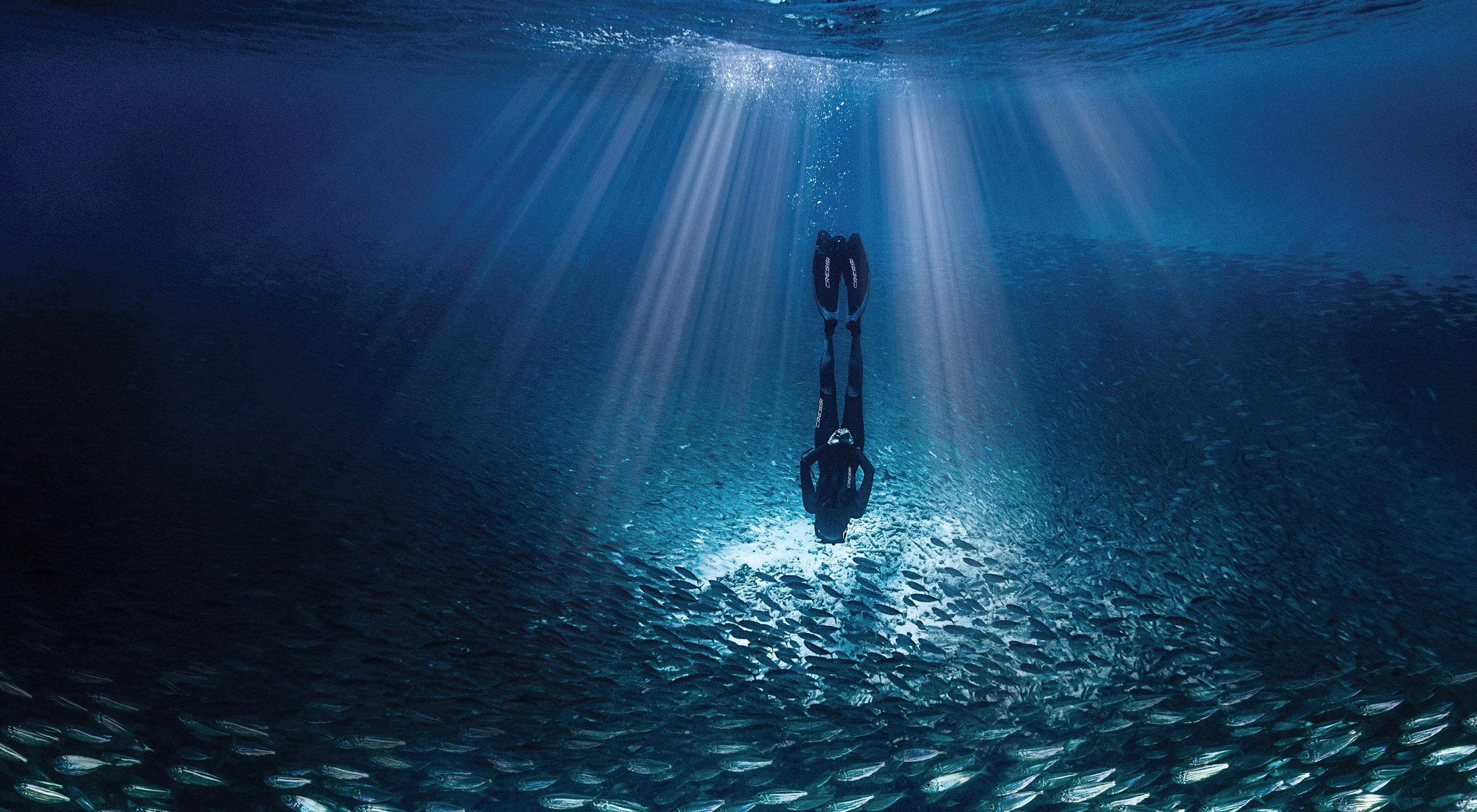 A free-diver explores Caribbean waters