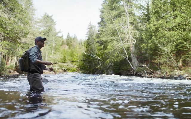 Carl Haensel, Northern MN Chair for trout unlimited, fishing in a coldwater stream
