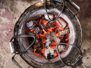 Charcoal being used for cooking in Kenya