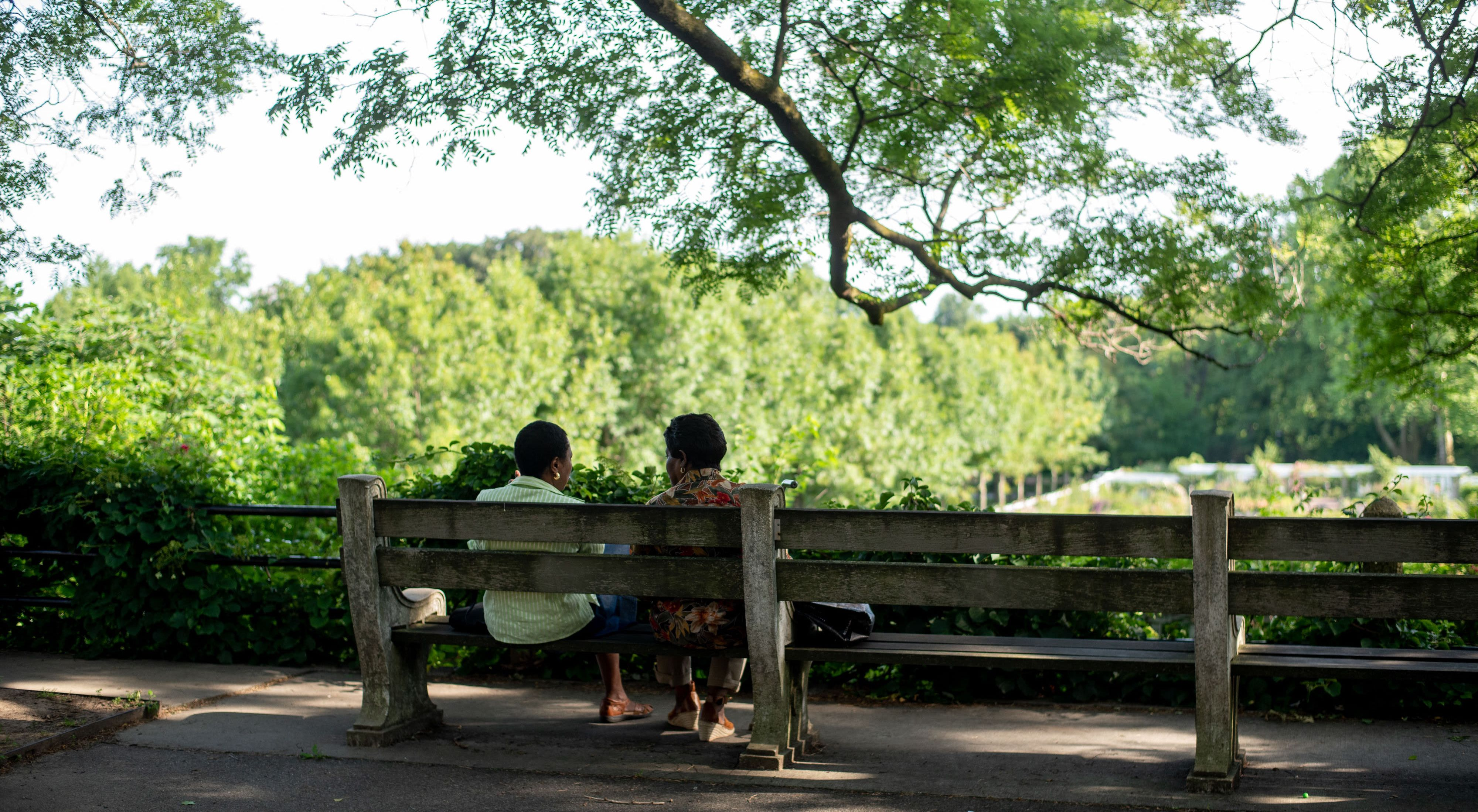 Two people sit on a bench overlooking the Brooklyn Botanical Garden.