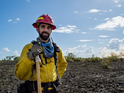 Wildfire suppression training, Deep River Forest Reserve, Belize.