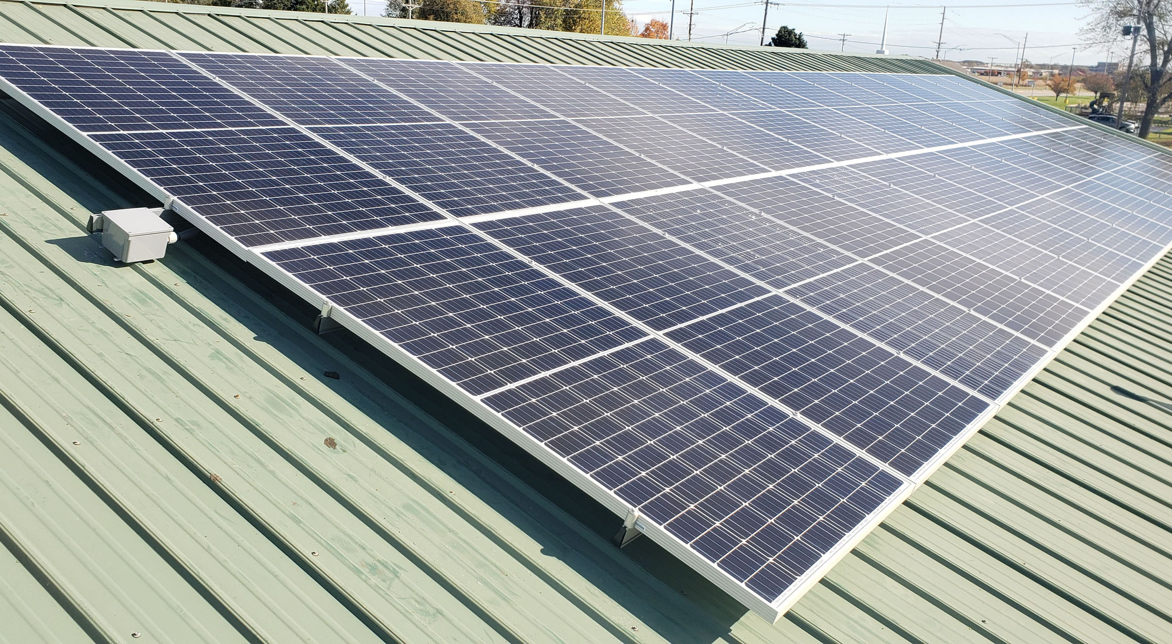 Photo of a rooftop solar installation in Iowa.
