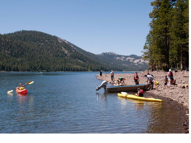 Visitors enjoying fishing from shore and small motorboats and using TNC's fleet of kayaks.