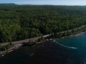 Aerial view of Highway 61 along the shore of Lake Superior in Minnesota.