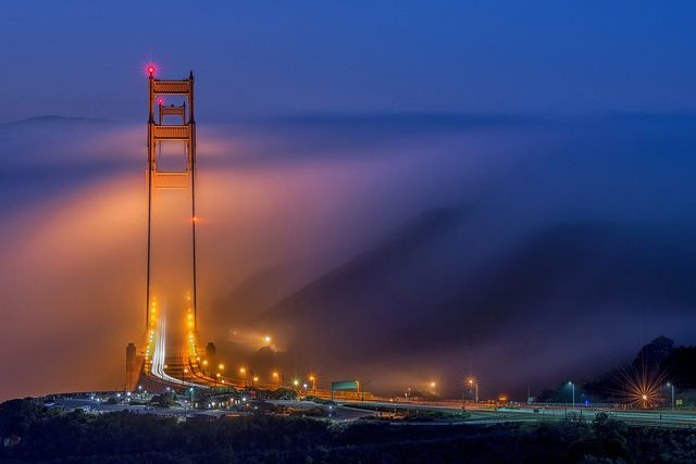 Golden Gate Bridge during a low fog event.