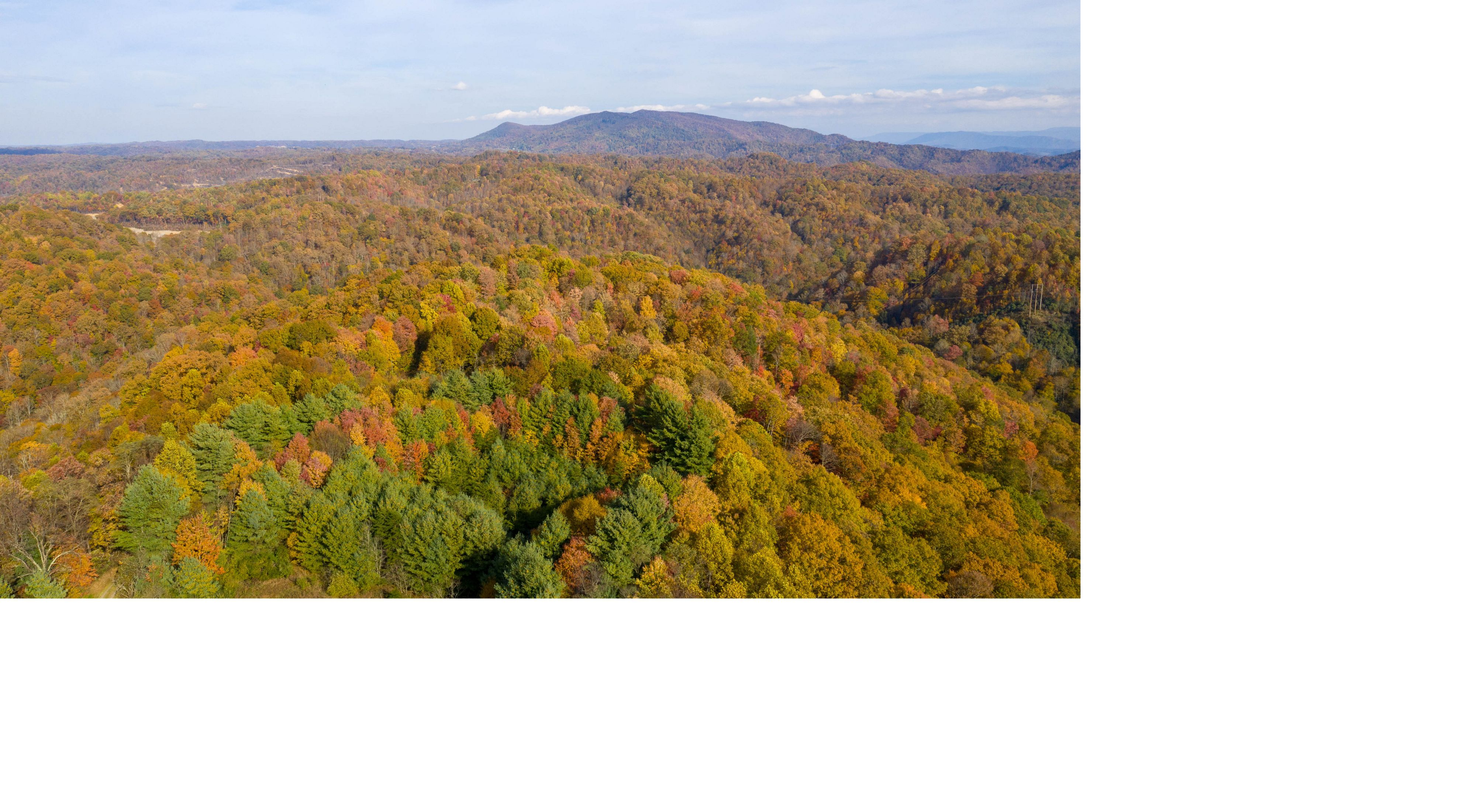 Aerial view of the Clinch Highlands in autumn.