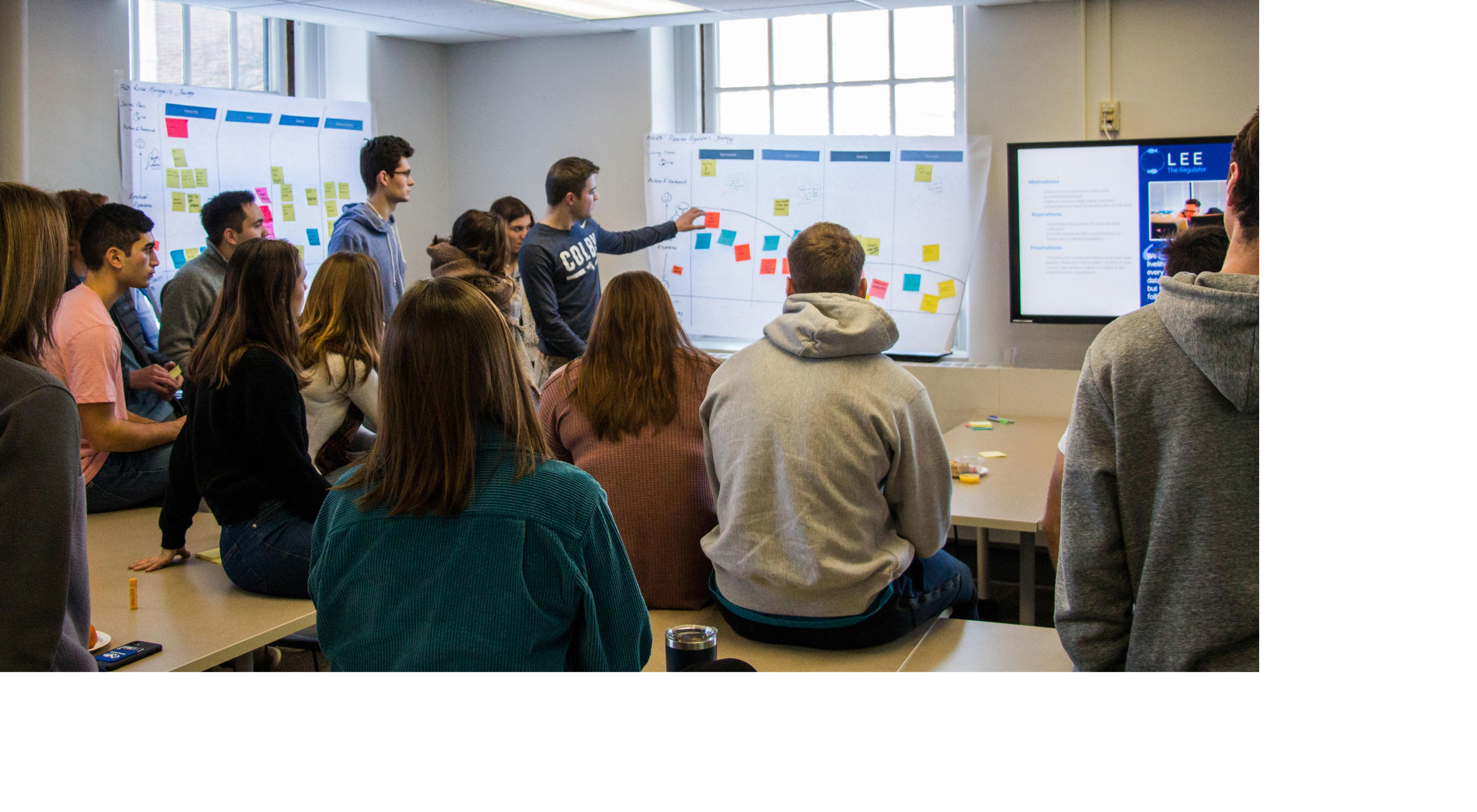 Colby College students worth through an ideation and journey mapping session.