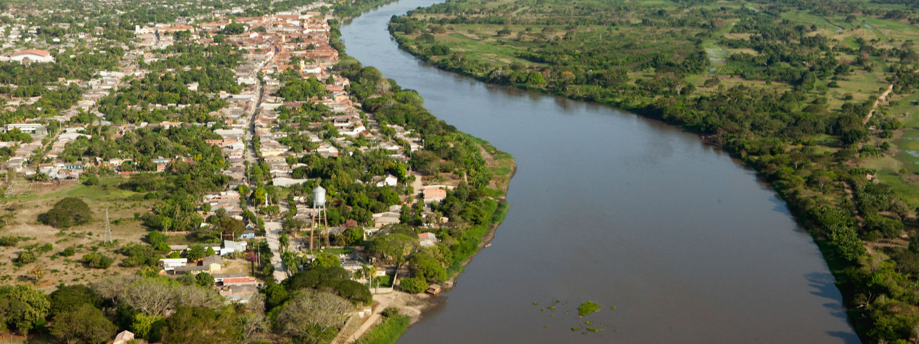 Aerial view of the town of Mompox, Bolivar
