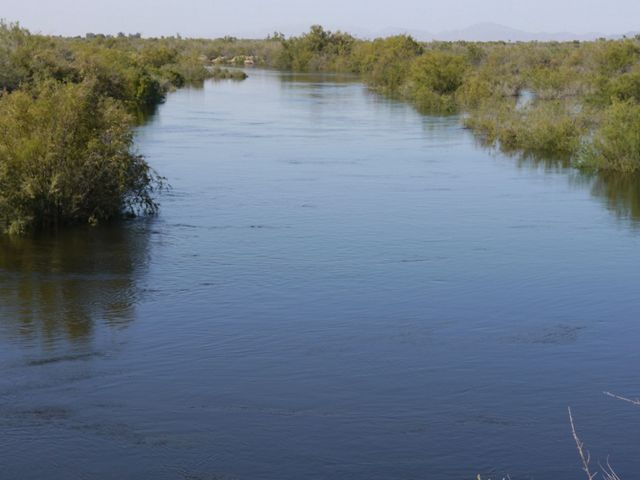 A Colorado River channel that was dry a week before is now filled with flowing water after the pulse flow release of water from the Morelos Dam in 2014.