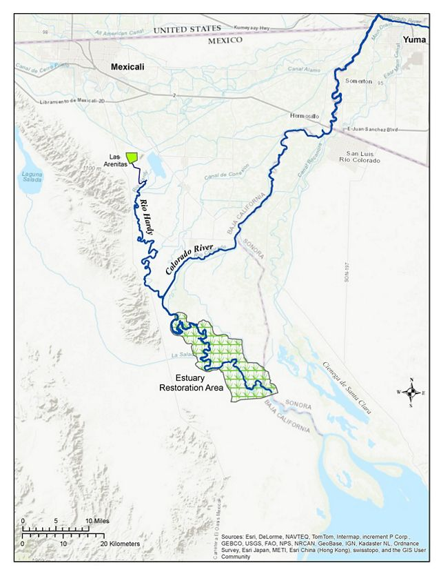 The Las Arenitas Wetland Project secures about 11,000 acre-feet (3.586 billion gallons) of treated water annually for the parched Colorado River estuary.