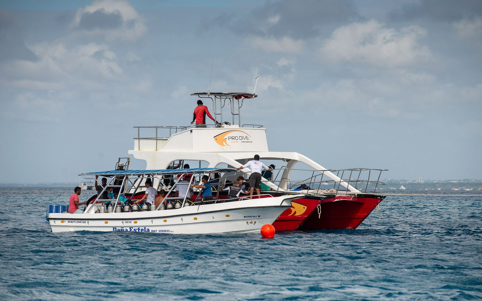 A diving boat off the coast of the Dominican Republic.