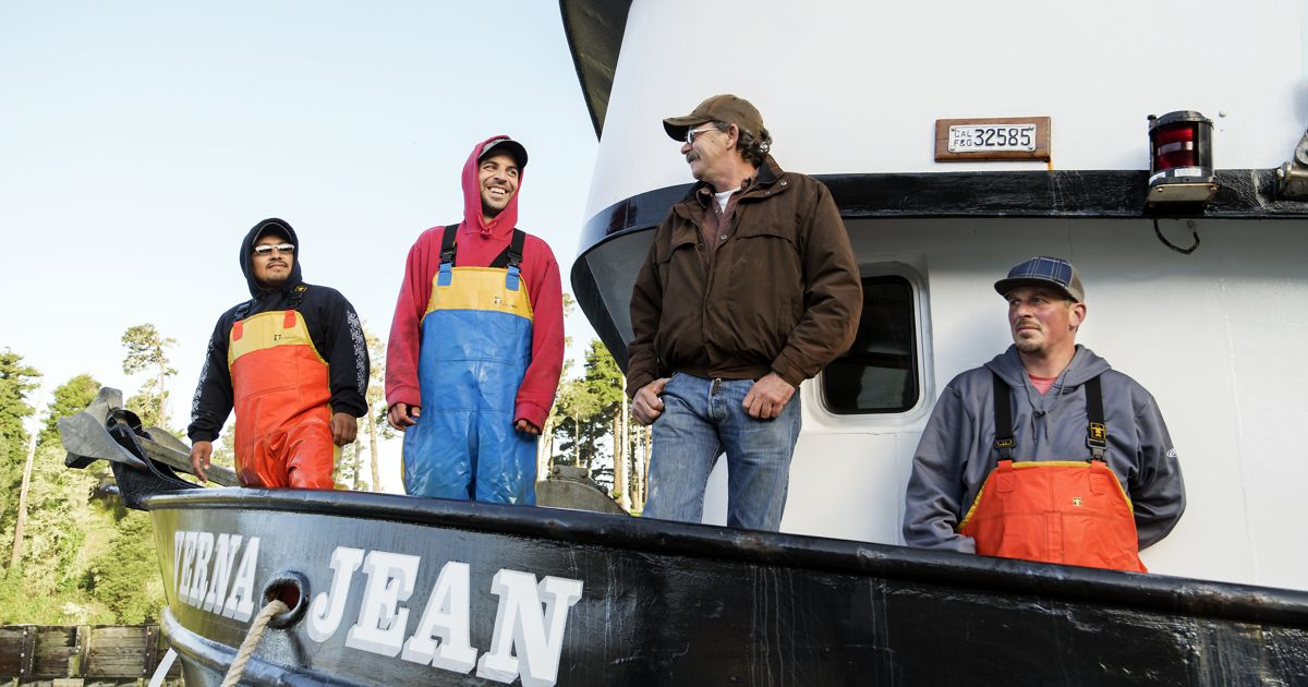 Captain and crew aboard the Verna Jean based out of Noyo Harbor in Fort Bragg.