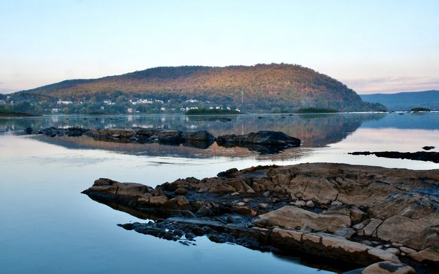 Early morning view of Cove Mountain across the glassy, still Susquehannah River.