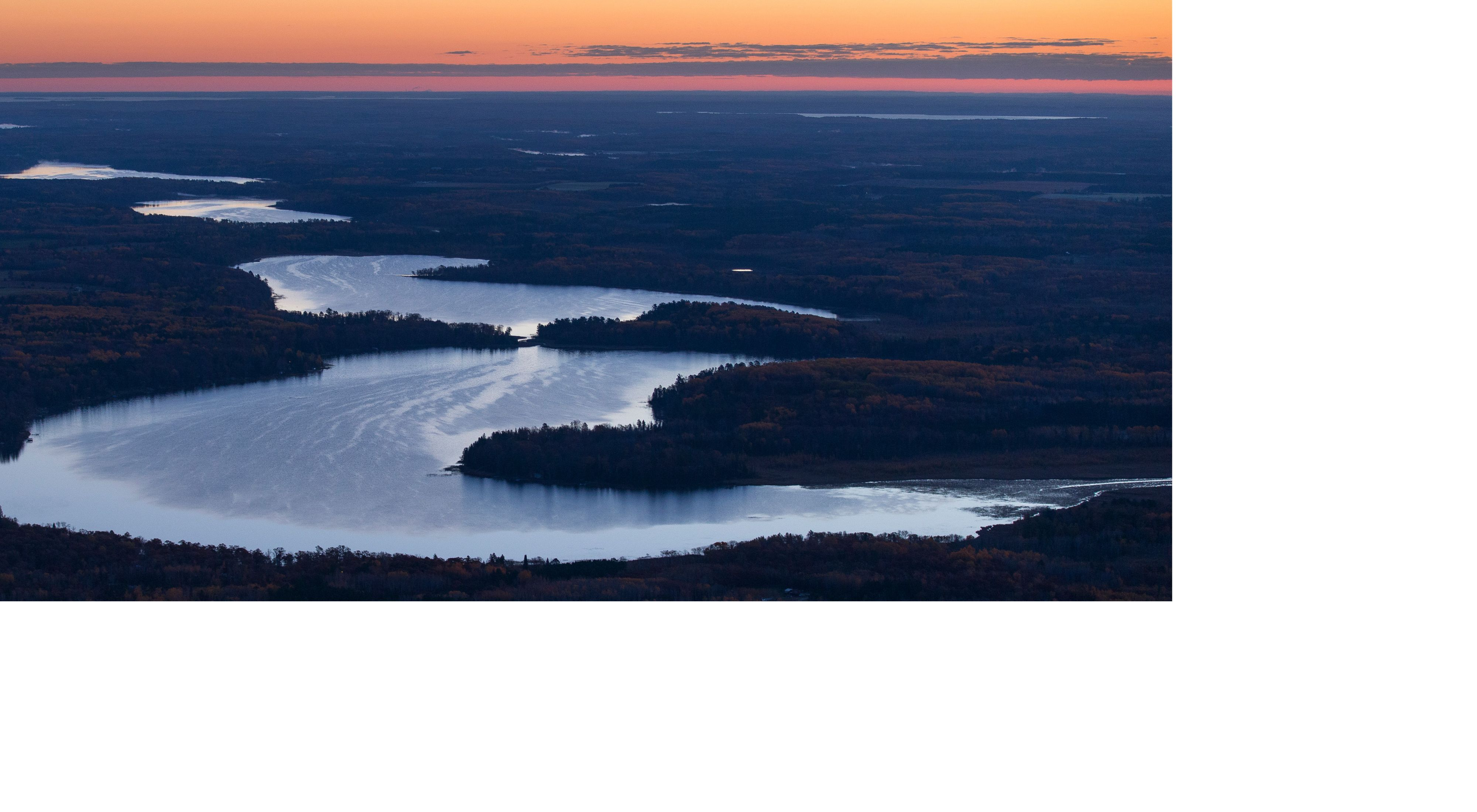 Aerial of the Crow Wing River, a key tributary of the Mississippi River.