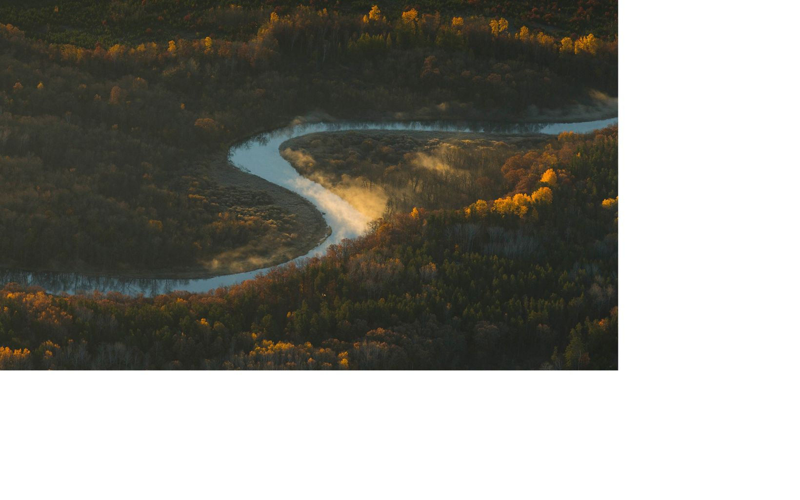 Aerial of the Crow Wing River near Huntersville, Minnesota.