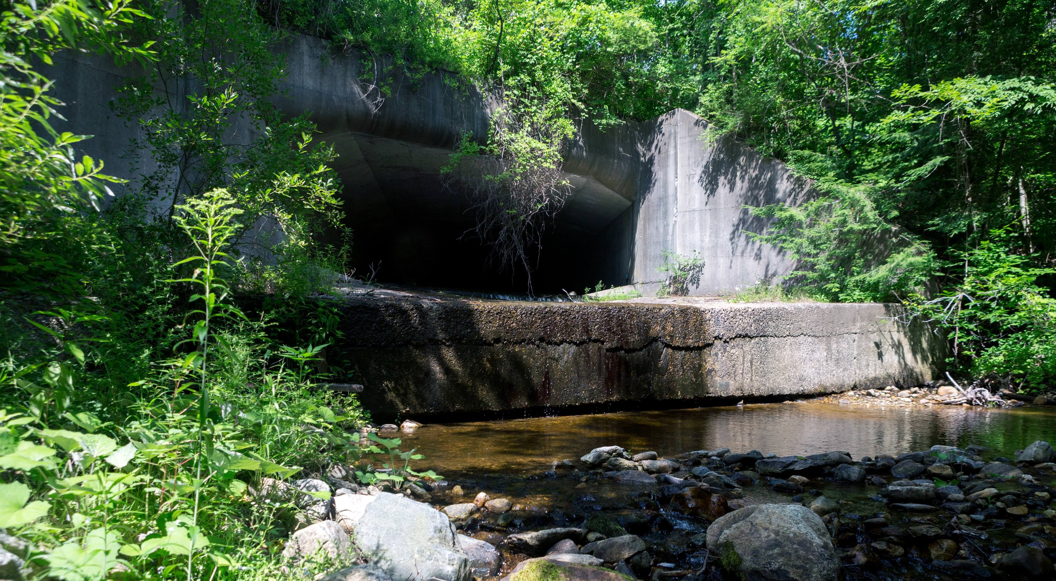 Culverts come in many shapes and forms, including large cement tunnels like this one that passes underneath the Massachusetts Turnpike in Lee, MA.