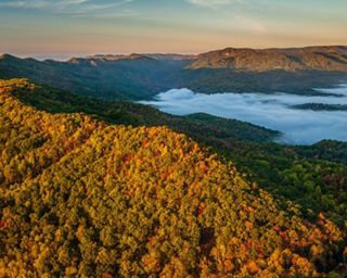 A mountain view of the Ataya tract and Cumberland Mountains from Cumberland Gap National Historic Park in Tennessee.