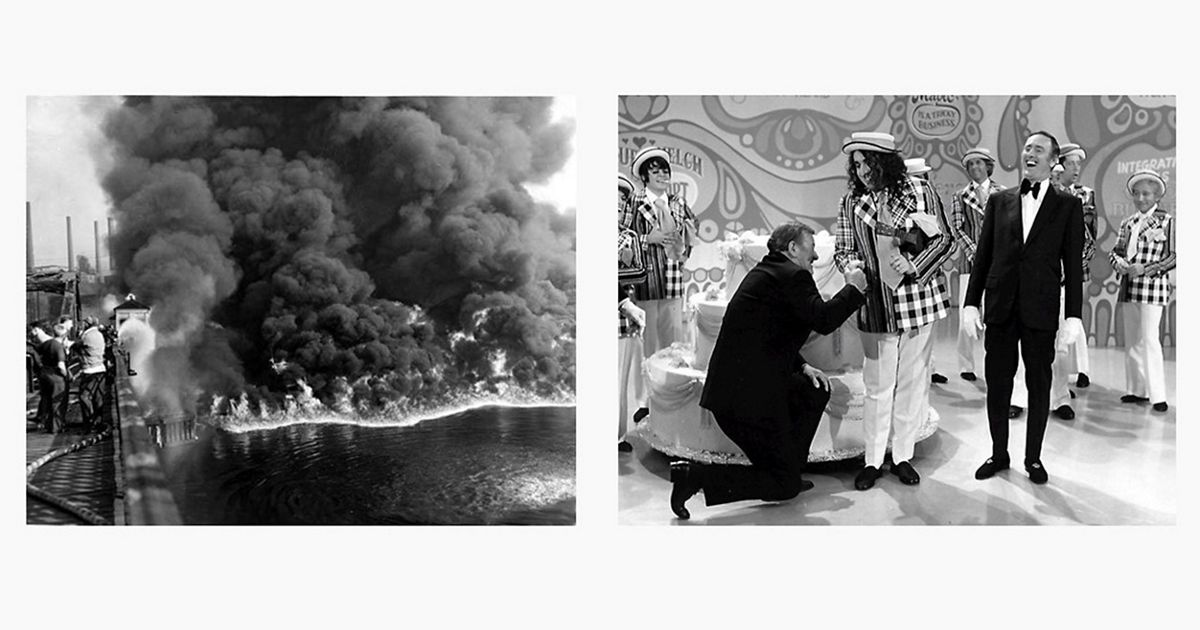 "Split image of Cuyahoga River fire and an episode of ""Laugh-In"""