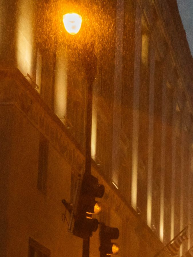 Rain pouring in downtown Washington, DC.