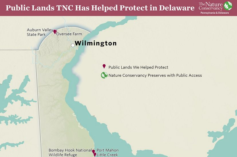 Topographic map of Delaware. Red pins mark public lands TNC has helped to protect. Numbers highlight TNC preserves.