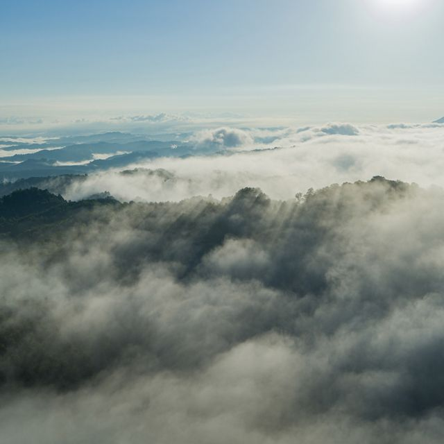 Aerial view of mountain tops in the Central Appalachians shrouded with early morning clouds. Hints of green break through the white mist. The clouds stretch to the horizon under a blue sky.
