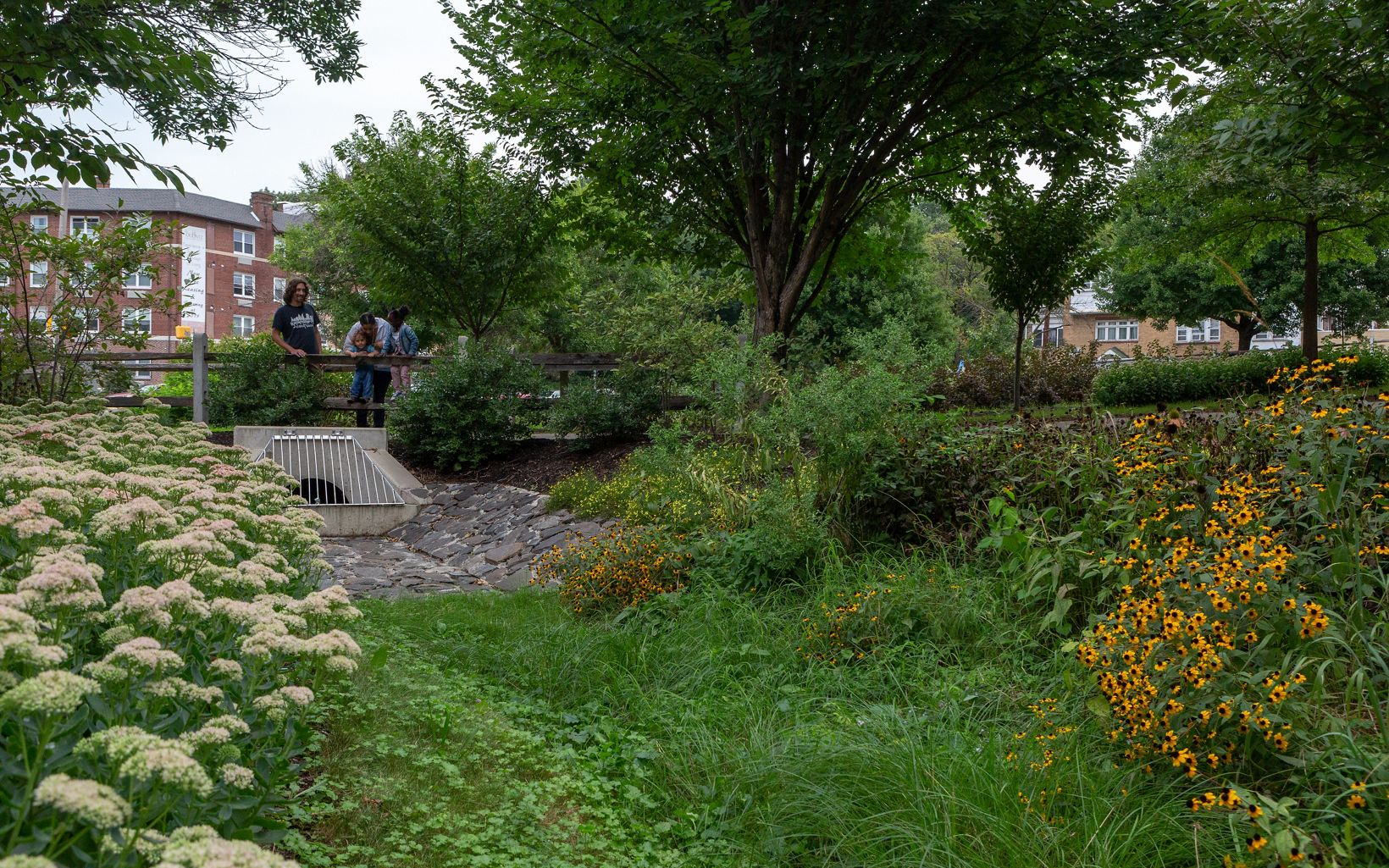 a park featuring a flowers and a culvert
