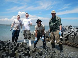 A group of people laugh as they are splashed by small waves while building oyster castles.