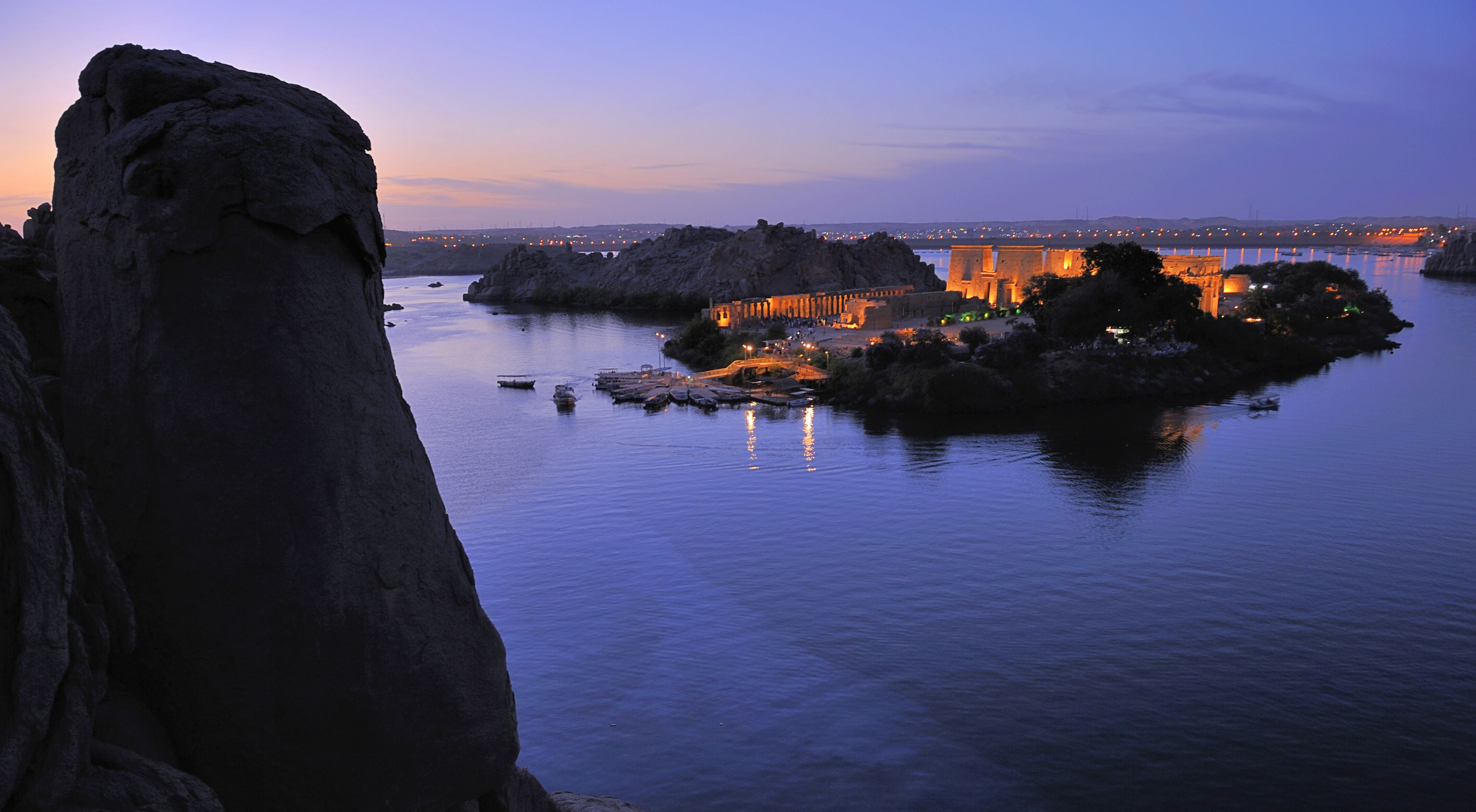 The reconstructed Isis Temple rises from Philae Island. Egypt. Nile River.