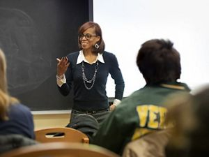 Shawneece Hennighan speaks to a class