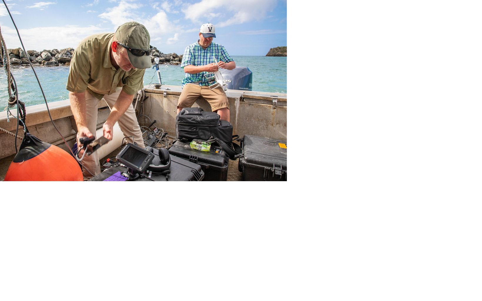 Data being collected by boat in St. Croix using an underwater drone camera adds another layer of information to create extremely accurate maps.