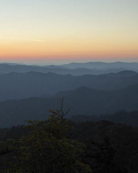 Misty mountain ridge in Laohegou Nature Reserve