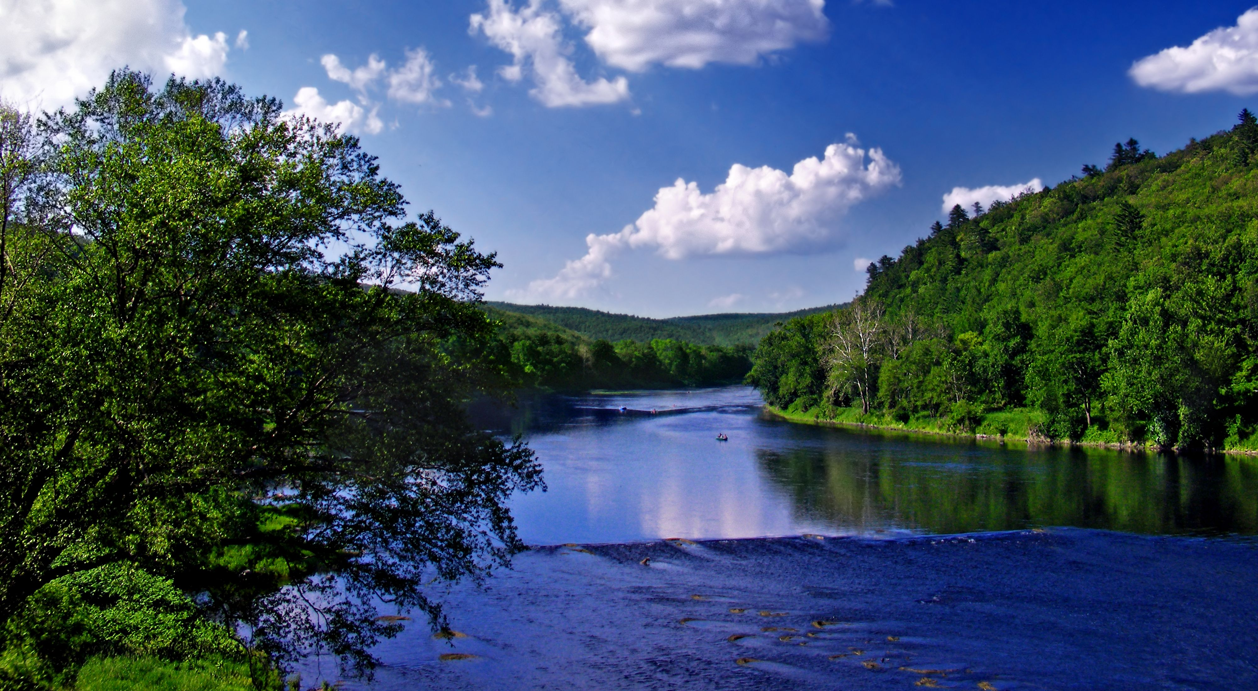 A wide river stretches to the horizon flowing between banks lined with abundant trees under a blue sky and puffy white clouds.