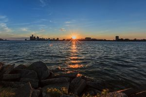 View from the waterline of the Detroit River Skyline