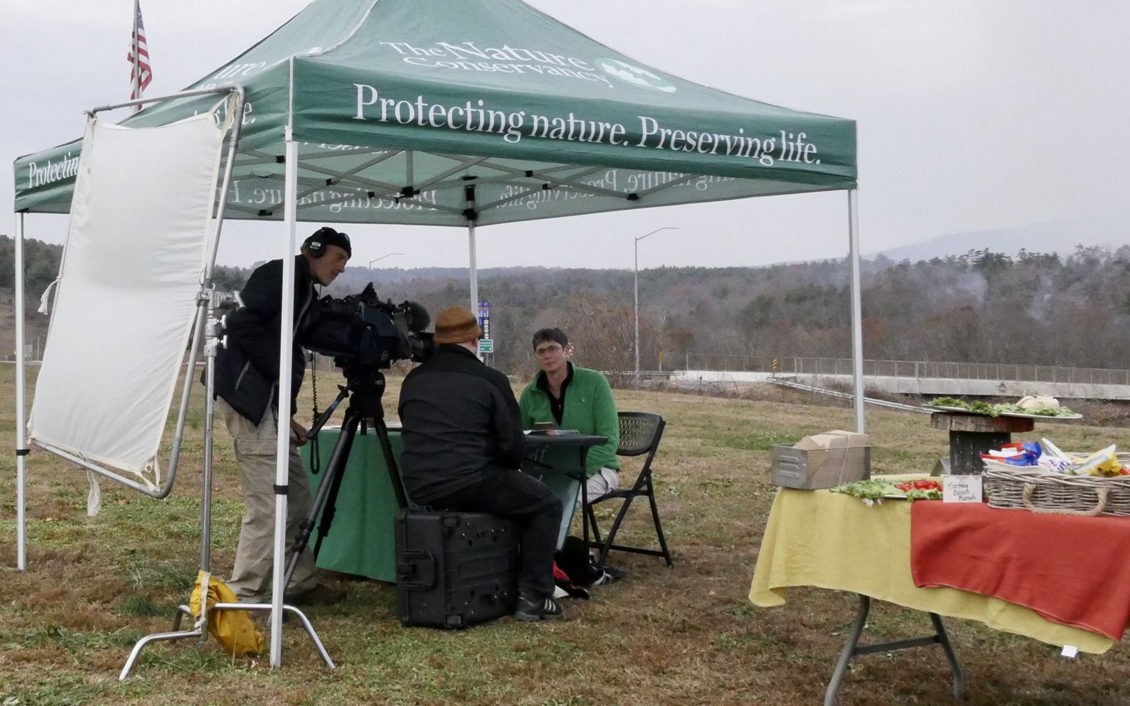 Resilient Forests Program Director Donnelle Keech is interviewed during the Sideling Hill Creek controlled burn, November 21, 2019.