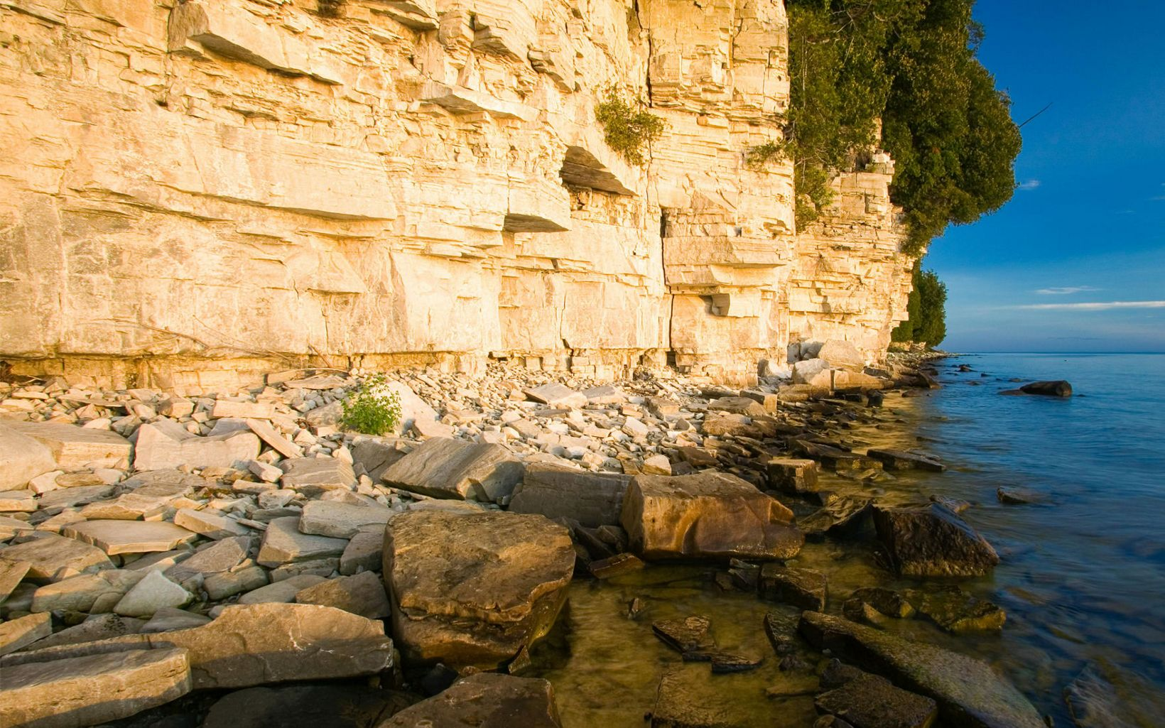 The limestone outcroppings of Door County's iconic bluffs are part of the Niagara Escarpment.