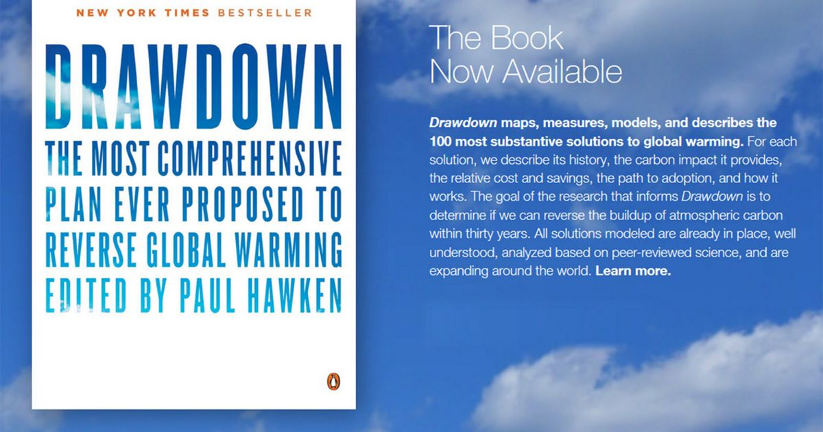 Image of white book on blue clouds with title of Drawdown