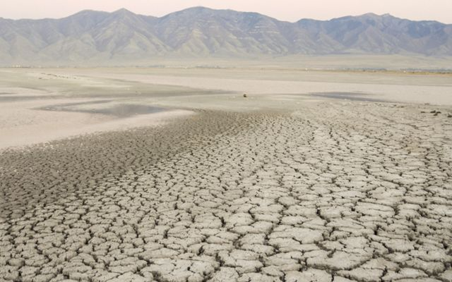 A brown, cracked lakebed that is dry.