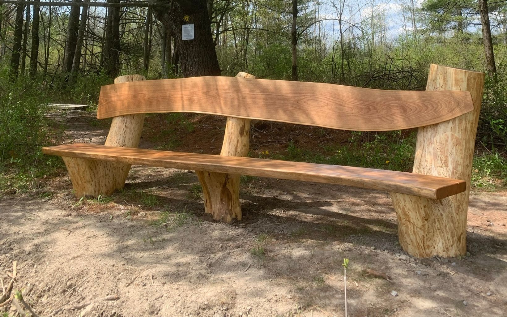Handmade bench made by woodworking artist- Mario Sacca.