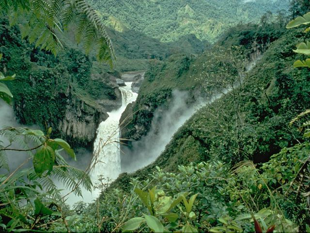 San Rafael waterfall at Cayambe-Coca Ecological Reserve in Ecuador, South America.