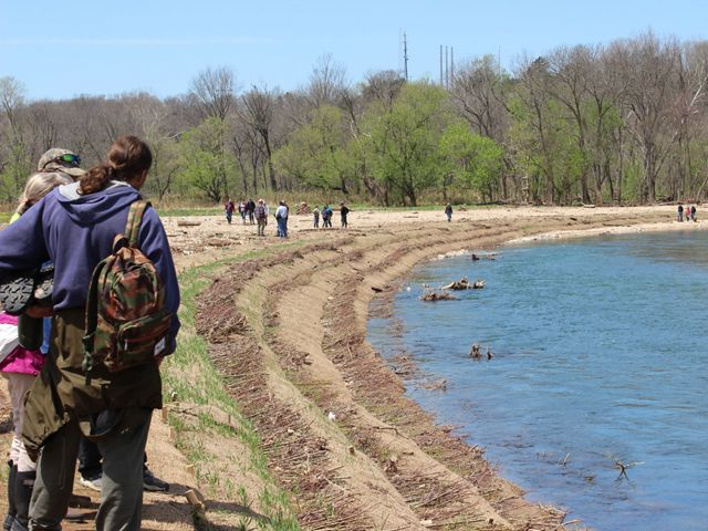 Groups of people gather along a streambank on a sunny day.