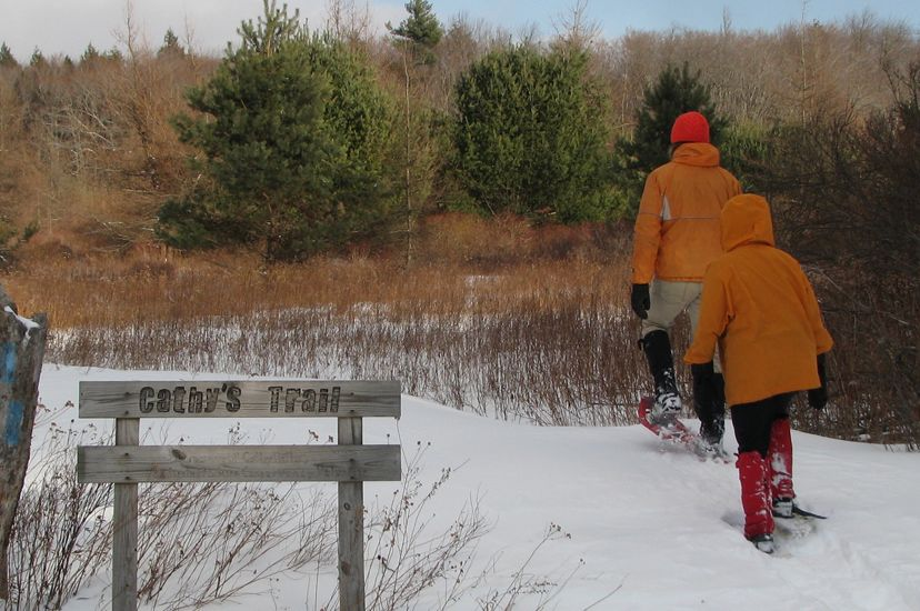 Two people wearing orange parkas and shoeshows walk single file along a snowy path.