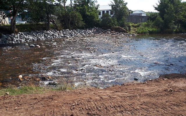 The dam after its removal in 2018. The removal yielded 400 meters of impounded stream restored and 16 km or upstream river connected.