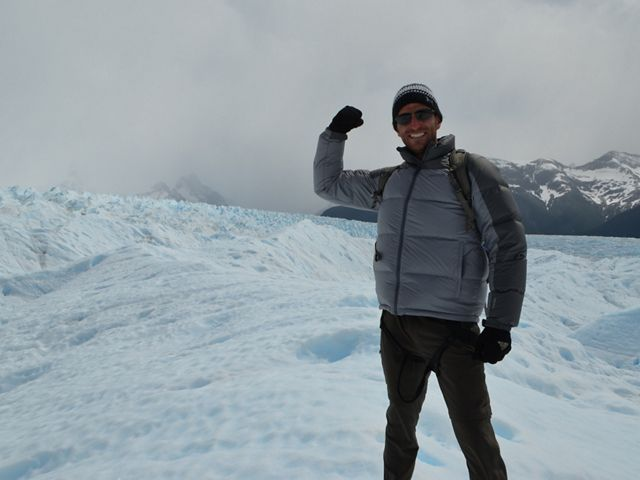 Eric Fisher, chief meteorologist at WBZ TV in Boston, enjoys spending time outdoors when not forecasting. Pictured here at the Perito Moreno glacier in Patagonia, Argentina.