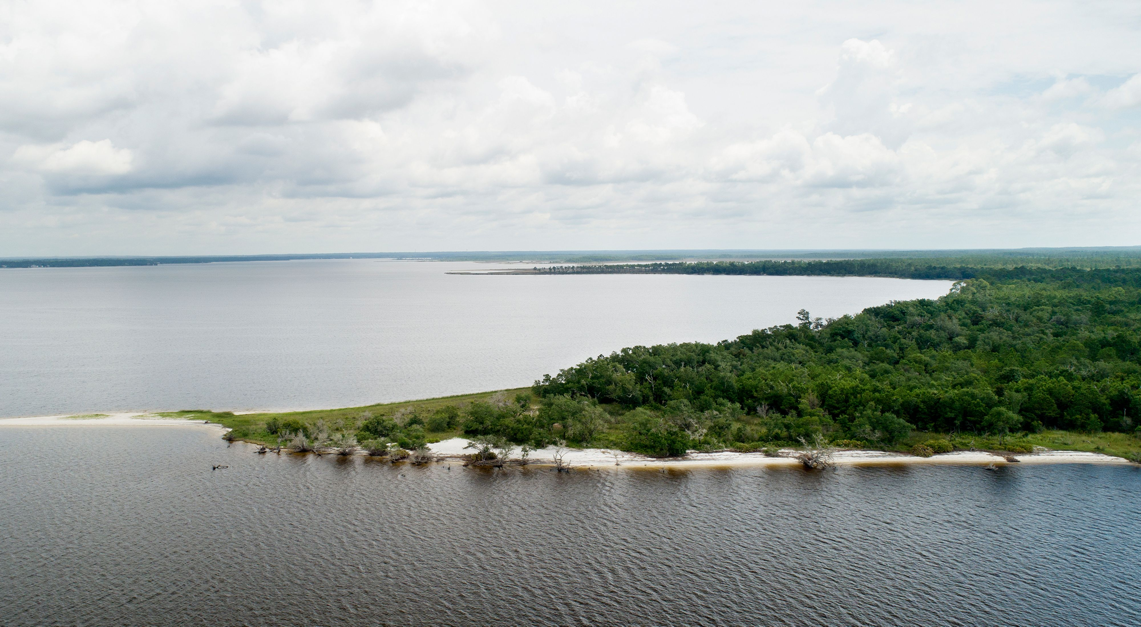 Aerial view of Escribano Point in Pensacola's East Bay.