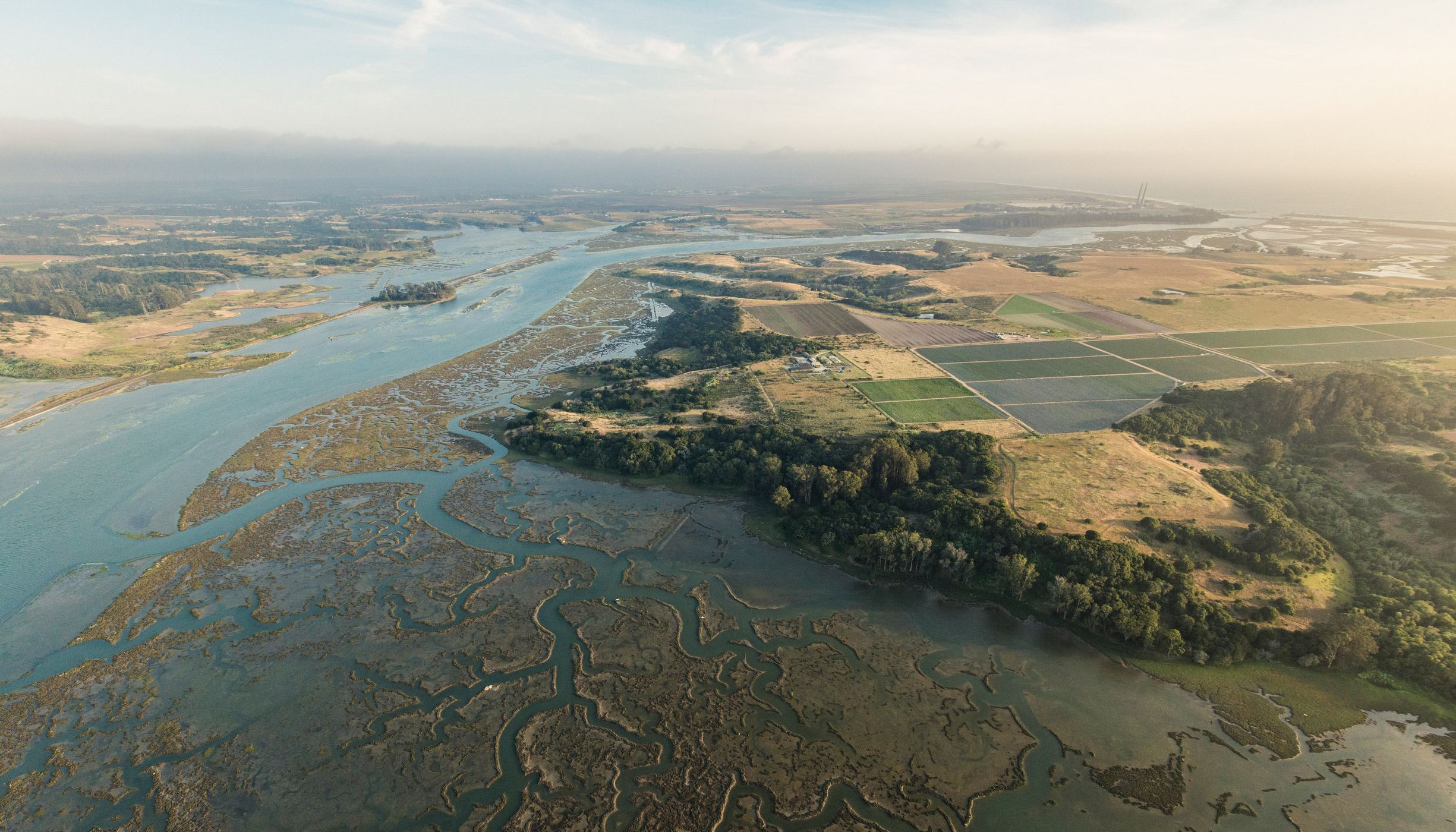 California estuary aerial view