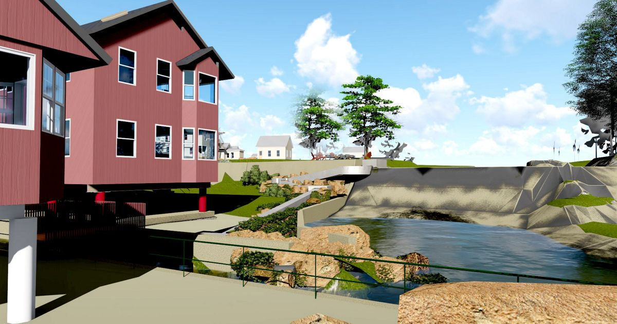 A computer rendering of what a fish ladder at the Mill Pond Dam could look like.