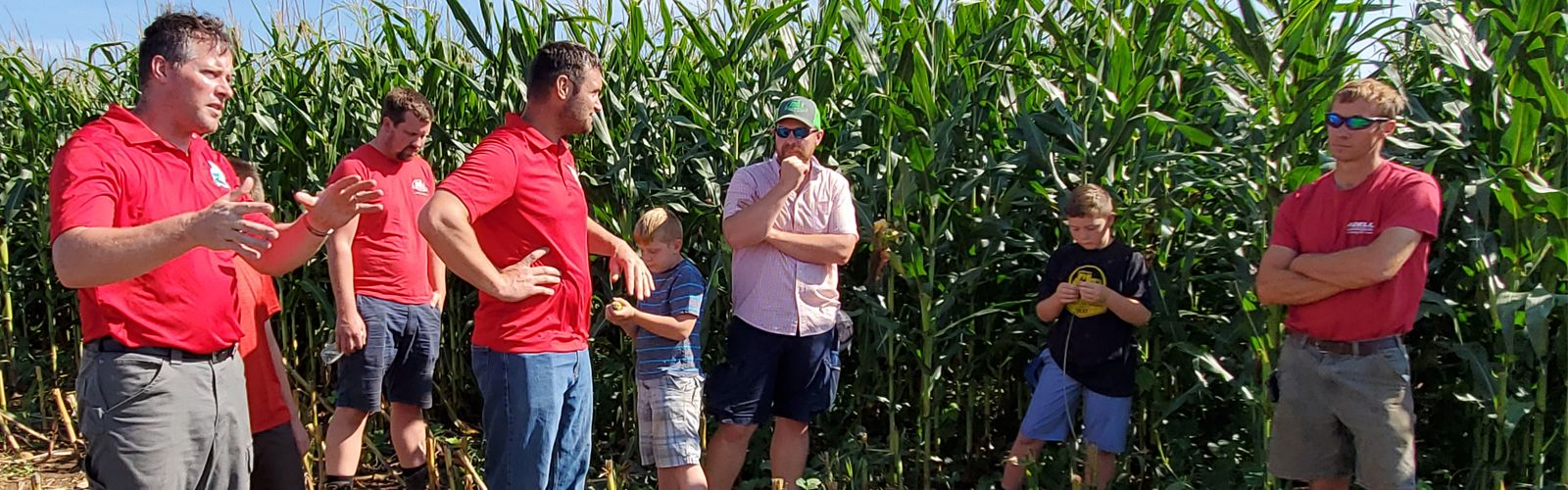 Several men and boys stand in an opening in a corn field, which has been partially harvested, listening to a man in a red shirt talk.