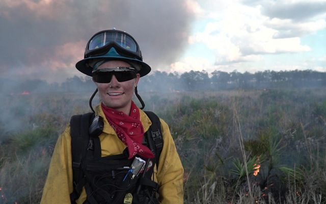 Amanda Lindsay of the University of Central Florida is part of the burn crew on Florida's first all-female controlled burn.