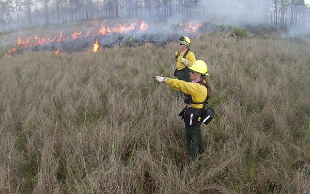 Two women stand in a grassy field wearing fire gear with flames in the background.